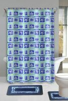 Beach Dolphin Blue 15-piece Bathroom Accessory Set 2 Bath Mats Shower Curtain