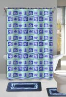 Beach Dolphin Blue 15-piece Bathroom Accessory Set 2 Bath Mats Shower Curtain