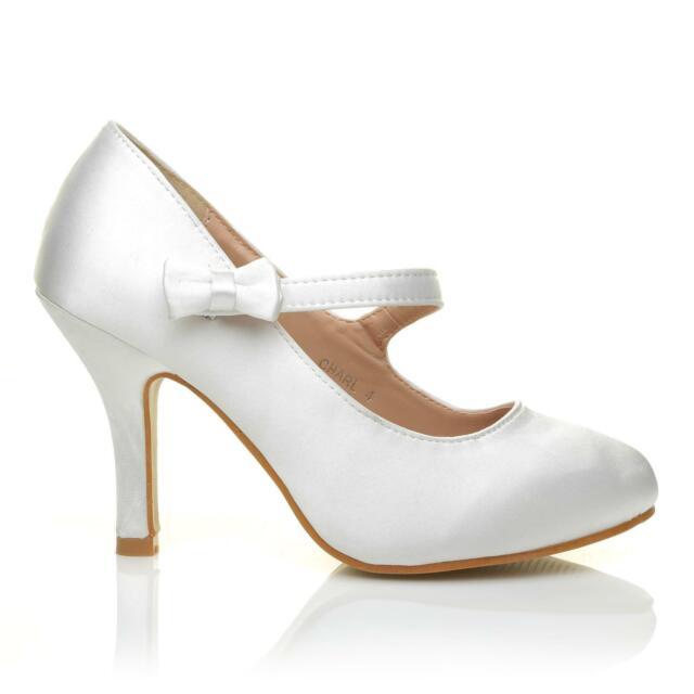 LADIES WHITE HI HEEL SATIN MARY JANE