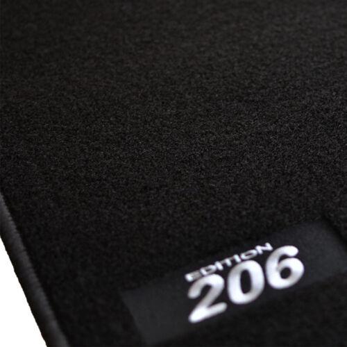 TAPIS SOL PEUGEOT 206 /& 206SW TOUTES LES ANNEES MOQUETTE LOGO BLANC SPECIFIQUE