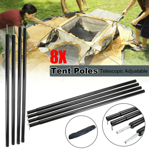 Set Of 2 Universal Telescopic Adjustable Steel Tent//Awning Poles Camping