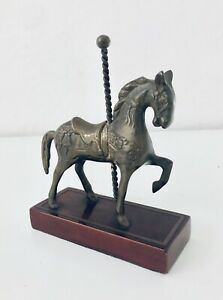 Solid-Brass-Horse-Wood-Sculpture-Merry-Go-Round-Carousel-Collector-Statue