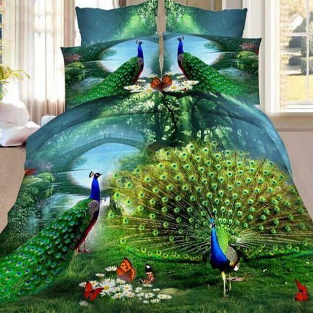 2015 New Hot 4Pcs 3D Brushed Printed Duvet   Quilt Cover Bedding Sets Queen Size