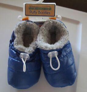002a603b6f4d2 Details about Boy Toddler *12*18*24* months SKIDDERS Puffy Booties Slippers  Gripper Blue Gray