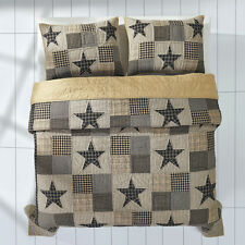 APPALACHIAN STAR 3pc King Quilt Set Primitive/Rustic Black/Khaki Plaid Burlap