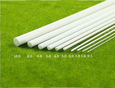 White ABS Plastic Round Rods DIY Model Craft 0.5mm X 250MM X 10 PCS