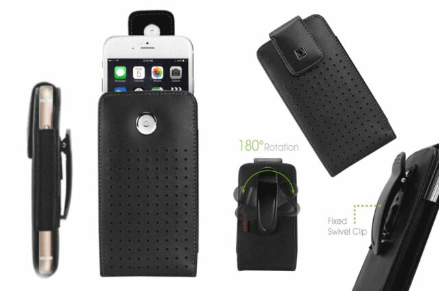 Leather Case Pouch for Apple iPhone With Rotating Swivel Belt Clip Holster Cover