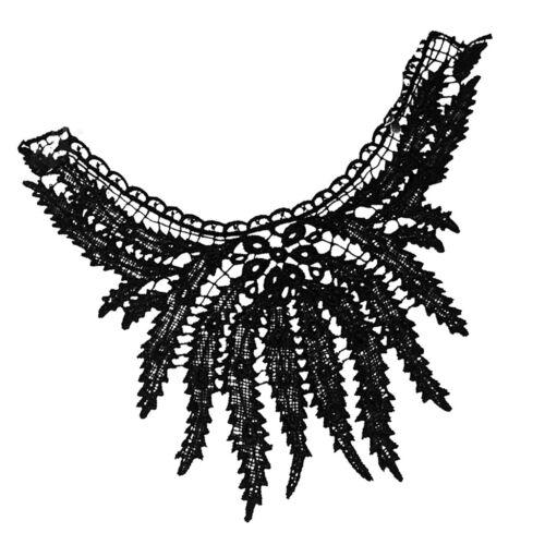Noir Dentelle Brodé Floral encolure col encolure bordée de À faire soi-même Couture Applique
