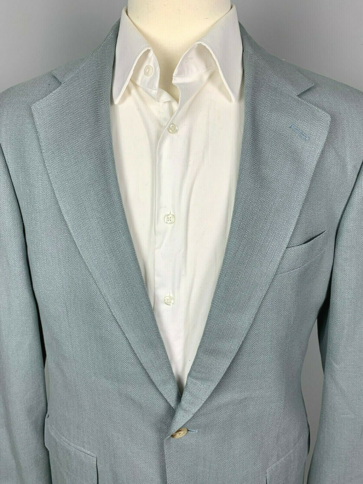 New vintage Polo Ralph Lauren 100% Silk Herringbone Light bluee Sport Coat 40 L