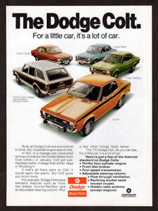 1974-DODGE-Colt-Vintage-Original-Print-AD-2-door-coupe-Custon-Wagon-GT-Hardtop