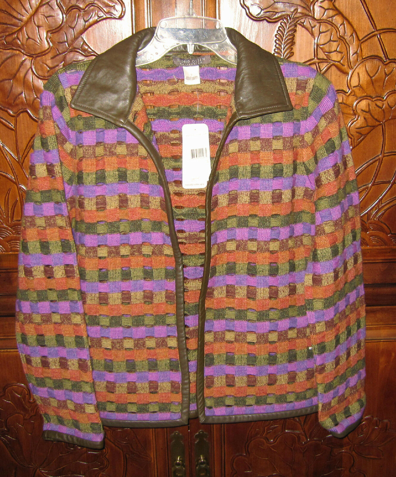 NWT NWT NWT Sigrid Olsen Collection 100% Wool   Leather Cardigan Sweater SZ S RT  298 a6e8a6