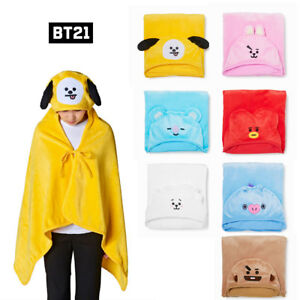 BTS BT21 Official Authentic Goods Hooded Blanket LINE FRIENDS with Track number