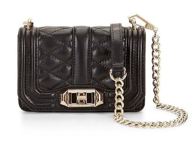 5e9b1851 Rebecca Minkoff Mini Love Black Quilted Leather Crossbody Bag