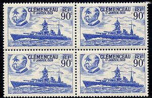 STAMP-TIMBRE-FRANCE-NEUF-N-425-BLOC-DE-4-CUIRASSE-CLEMENCEAU