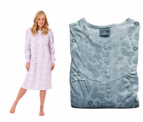 Damen Nachthemd Lang Knopfleiste Langarm Motiv allover 60241