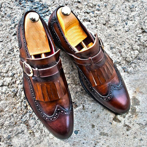Hand Stitched Mens Elegent Brogue Wingtip Real Leather Mocassins, Luxury shoes