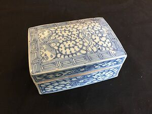 A-Chinese-Antique-Blue-and-White-Porcelain-Box