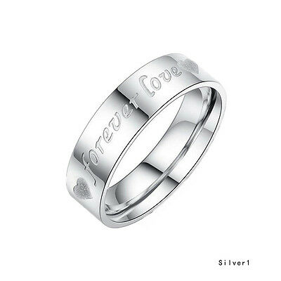 Fashion Cute Couple Ring Wedding Bands Titanium Stainless Steel Forever Love Set