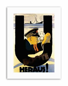 WAR-WWI-GERMANY-UBOAT-HEROES-SUBMARINE-NAVAL-SHIP-SINK-Poster-Military-Canvas