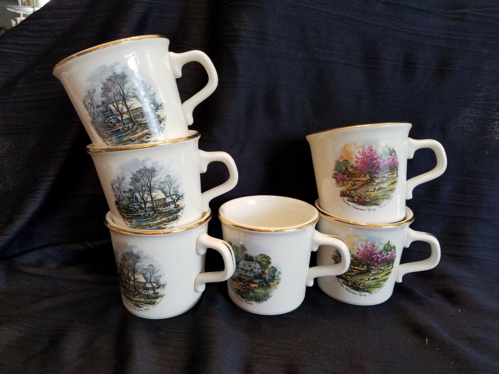 Six 1950's MAXWELL HOUSE MUGS Cream w Currier & Ives Pics Taylor Made in USA