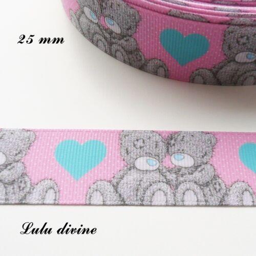 Ruban gros grain rose clair coeur bleu Ourson// Teddy de 25 mm vendu au mètre