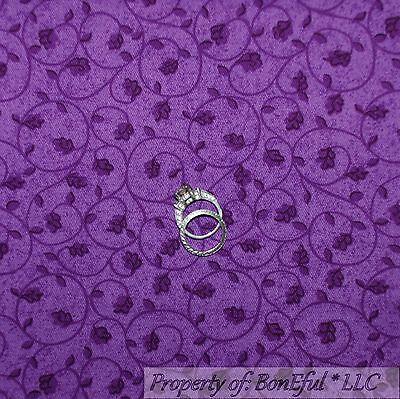 BonEful Fabric FQ Cotton Quilt Purple White Calico Swirl Scroll Princess US Girl