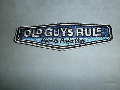 "OLD GUYS RULE "" AGED TO PERFECTION "" 1.25"" X 4.5"" EMBROIDERED FABRIC PATCHES"