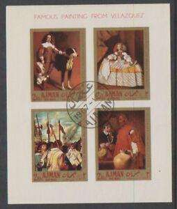 Ajman - 1967, Berühmte Gemälde Von Velazquez Blatt - Cto