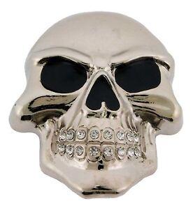 Squelette-Boucle-de-ceinture-Crane-Strass-en-Metal-Argente-Gothique-Tatouage-Tribal-pour-Homme-NEUF