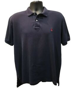 Polo-Ralph-Lauren-Men-039-s-Polo-Shirt-Size-L-Navy-with-Red-Pony-Logo