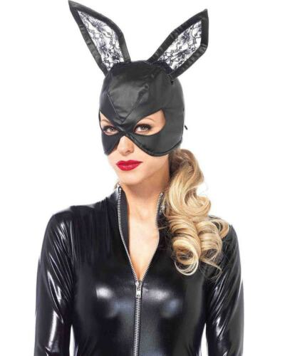 Faux Leather Bunny Masquerade Mask One Size