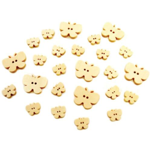 25 Var.-Sized Wood Butterfly Buttons; Paint//Embellish for Card Making Crafts ETC