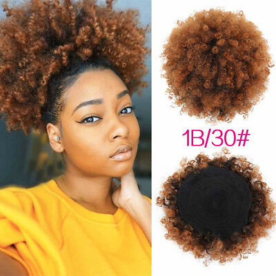 High Puff Afro Curly Wig Ponytail Drawstring Short Kinky Clip In Hair Bun Style Ebay