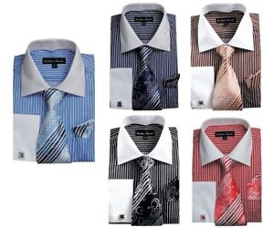 Men-039-s-Striped-Formal-Dress-Shirt-w-French-Cuff-Links-Tie-and-Hanky-631