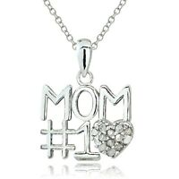 Sterling Silver 1/8ct Diamond #1 MOM Necklace