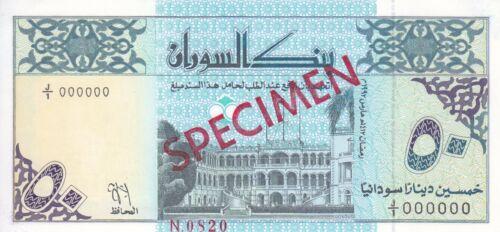 1 UNC SUDAN 50 DINARS 1992 P-54a with artis name DESOUGI SPECIMEN START PREFIX
