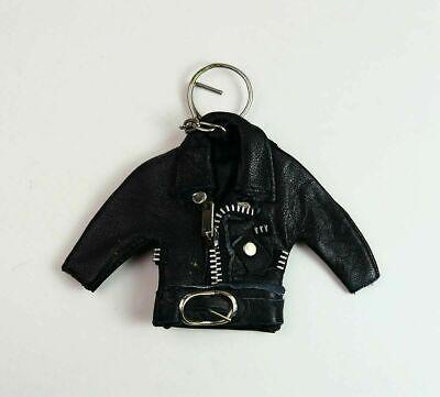 BLACK LEATHER JACKET KEYCHAIN Biker Heavy Metal Punk Rock key ring chain hipster