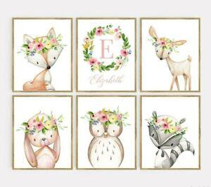 Rosa Floral Boho Woodland Animales impresiones artísticas Monograma vivero Conjunto de 6 629-A