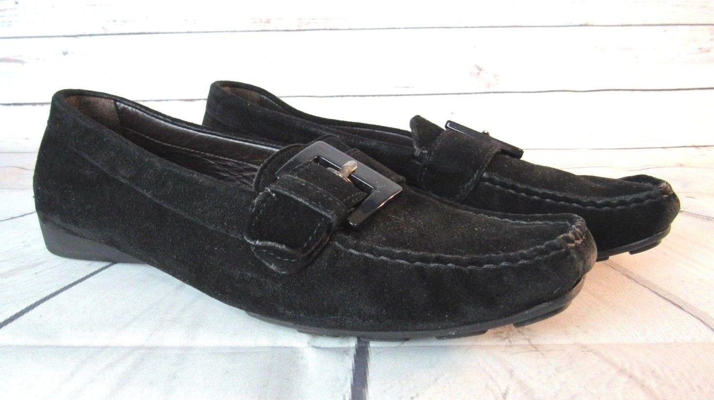 Stuart Weitzman Womens Black Suede Driving Loafers shoes US 6 - 6.5 EU 36 37