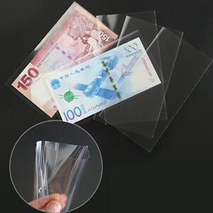 50PCS Professional Paper Money Collection Bag Banknote Stamps Holder 17x8cm