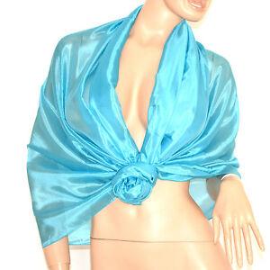 Stola Azzurra 60% Seta Donna Foulard Scialle Coprispalle Cerimonia Elegante A52