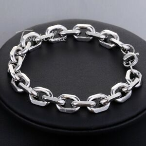 10mm-Oval-Cable-Link-Bracelet-Mens-Silver-Tone-Stainless-Steel-Chain-Jewelry-11
