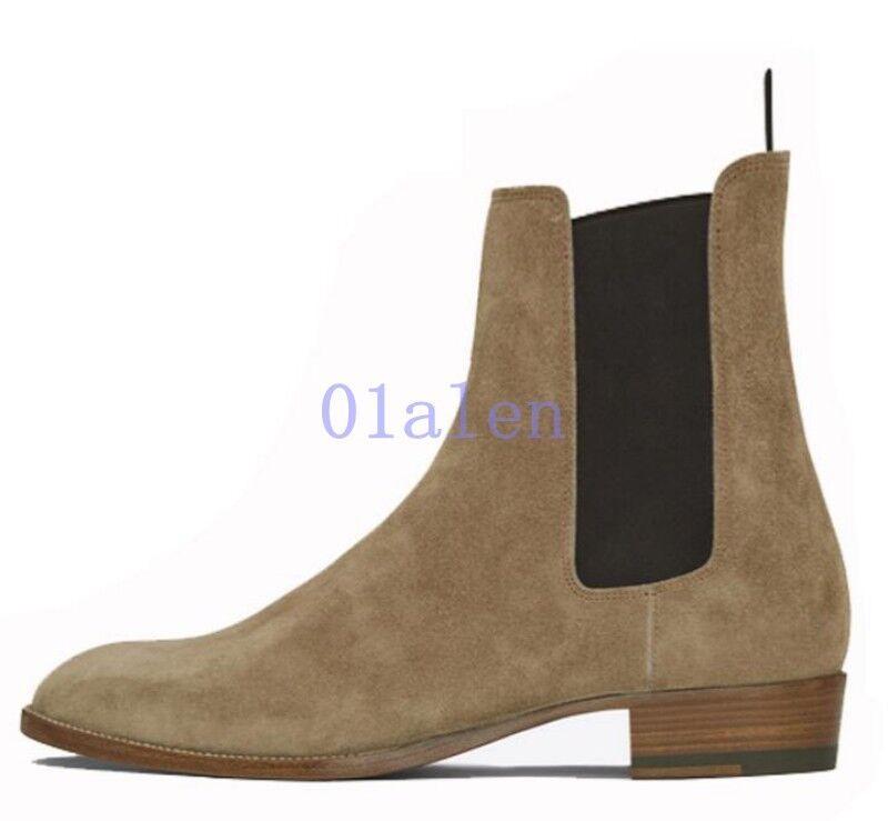 Retro Para Hombre Chelsea Tobillo Alto botas al Tobillo Zapatos De Conducción Manual De Gamuza Real