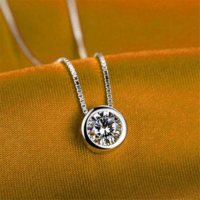 Fashion Women Silver Round Single Crystal Rhinestone Pendant Necklace Jewelry