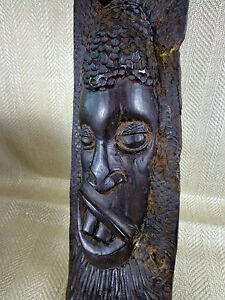 Vintage-Africain-en-Bois-Masque-Sculpture-Dur-Tribal-Tenture-Murale-Lourd