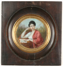 """""""Portrait of a lady reading a letter"""", fine French miniature, ca.1820"""