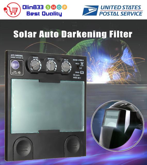 Solar Auto Darkening Big View Area 4 Arc Sensor Helmet Lens TIG MIG Filter