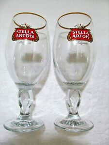 Stella-Artois-Belgium-Gold-Rimmed-Glass-Beer-Chalice-33CL-Set-Of-2-Great-Gift
