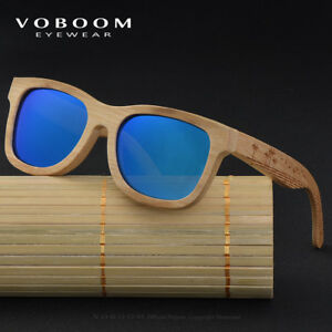 1d1c1181734 Image is loading VOBOOM-Natural-Bamboo-Sunglasses-Polarized-Carving-Frame- Mirrored-