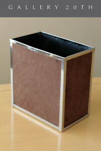 RARE-amp-COOL-MID-CENTURY-ITALIAN-SUEDE-CHROME-WASTEBASKET-70-039-S-AFTER-PANTON-VTG